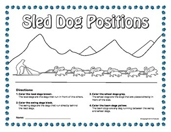 Iditarod Sled Dog Coloring Page