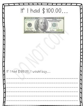 If I had $100 writing paper