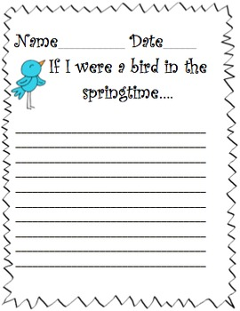 """""""If I were a bird in the Spring time"""" Writing prompt and paper"""