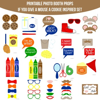 If You Give A Mouse A Cookie Printable Photo Booth Prop Set