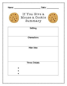 If You Give a Mouse a Cookie Summary Graphic Organizer