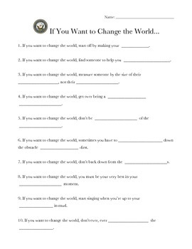"""""""If You Want to Change the World"""" Worksheet"""