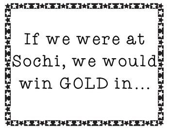 """If we were at Sochi..."" Fun Olympic-inspired Literacy Freebie!"