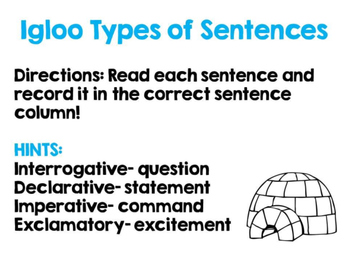 Igloo Types of Sentences Center