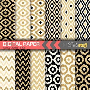 Ikat Digital Paper, Black and Gold Ikat Digital Backgrounds