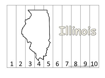 Illinois Number Sequence Puzzle.  Learn the States prescho