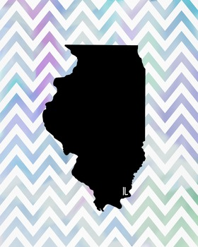 FREEBIE! Illinois Chevron State Map Class Decor, Governmen