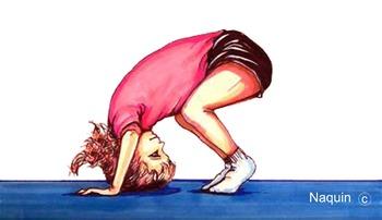Illustration-girl doing forward roll-gymnastics