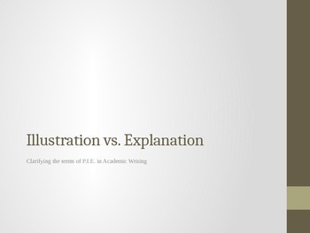 Illustration vs Explanation - Clarifying the Terms in P.I.