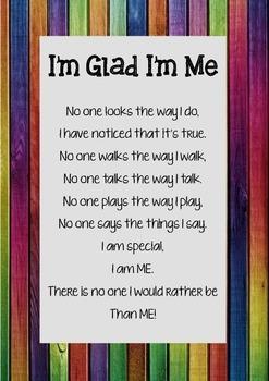I'm Glad I'm Me Poem Poster