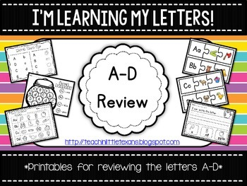 I'm Learning My Letters! {A-D Review Packet}