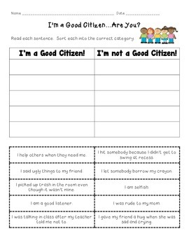 I'm a Good Citizen...Are You?  cut and paste sort