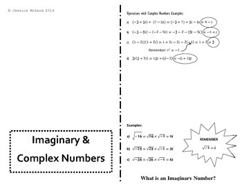 Imaginary and Complex Numbers Foldable