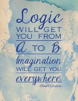 """Imagination will get you everywhere."" 24 x 36 watercolor poster"