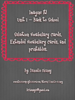 Imagine It! Unit 1 - Back to School Vocabulary and Printables