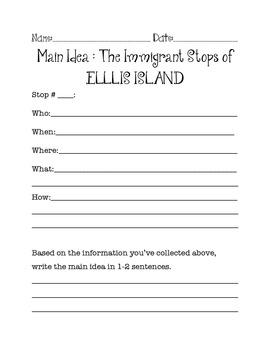 Immigrants of Ellis Island Main Idea practice