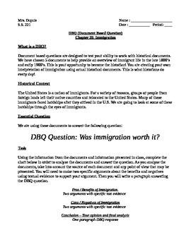 Immigration DBQ - Was immigration worth it?