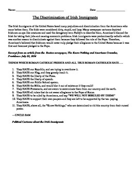 Immigration: Discrimination of Irish Immigrants homework /
