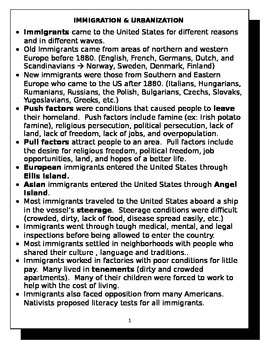 Immigration and Urbanization review sheet