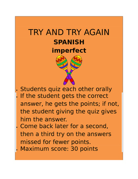 Imperfect SPANISH  Try and Try Again