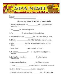 Imperfect tense of ser, ver & ir  Worksheet # 2