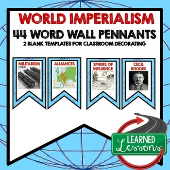 Imperialism Around the World Word Wall Pennants (World History)