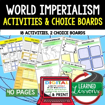 Imperialism Choice Board Activities (Paper and Google) Wor