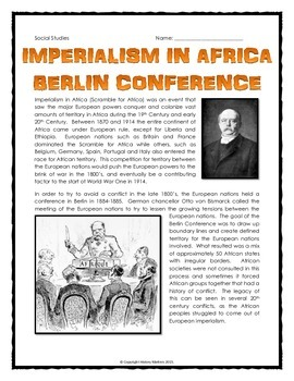 Imperialism in Africa - Berlin Conference - Reading, Map a