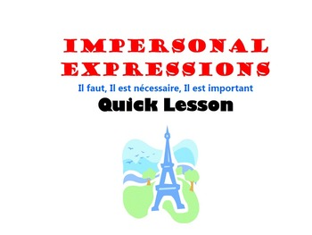 Impersonal Expressions with Infinitives (Il faut): French