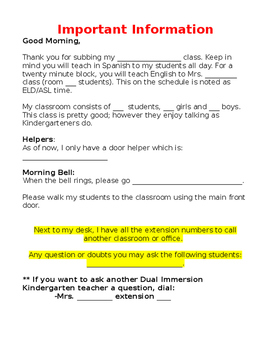 Important Information, Classroom Management and Spanish Songs