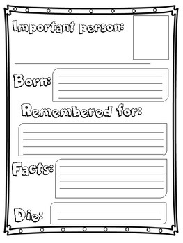 Important Person Biography worksheet
