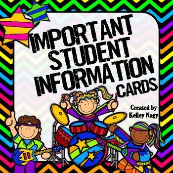 Student Information Cards ROCK STAR