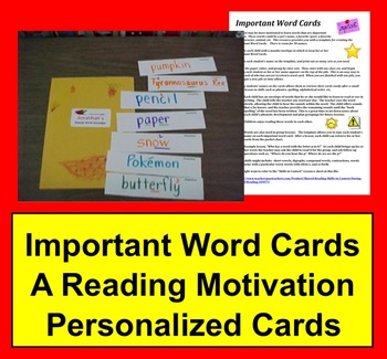 Important Word Cards - A Reading Motivation - Personalized