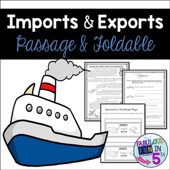 Imports and Exports Nonfiction Passage and Foldable
