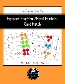 Improper Fraction/Mixed Numbers Card Match (TEKS 4.3C, CCS