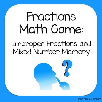 Fraction Game : Improper Fractions and Mixed Number Memory Game