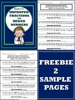 Improper Fractions and Mixed Numbers  - 2 Page FREEBIE