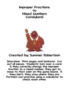 Improper Fractions to Mixed Number Candyland Game