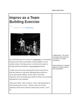 Improv Comedy/ performance Art Close Reading