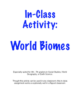 Biomes - In-Class Activity - Earth Science