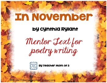 In November Mentor Text for Poetry Writing FREEBIE