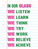 In Our Class 8.5x11 Poster in Pink & Green