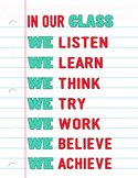 In Our Class 8.5x11 Poster in Red & Teal