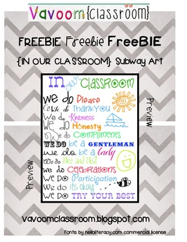 In Our Classroom Subway Art Freebie