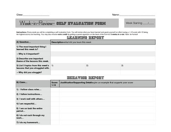 Week In Review-Self Evaluation Packet