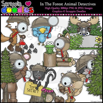 In The Forest Animal Detectives Clip Art & Line Art