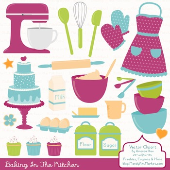 In The Kitchen Baking Clipart & Vectors in Bohemian - Baki