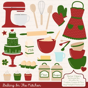In The Kitchen Baking Clipart & Vectors in Christmas - Bak