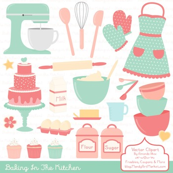 In The Kitchen Baking Clipart & Vectors in Mint & Coral -