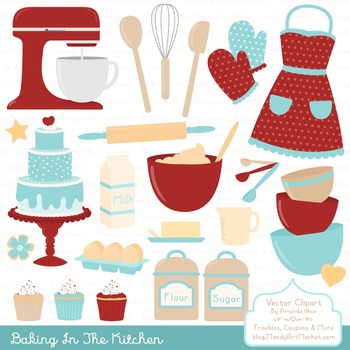 In The Kitchen Baking Clipart & Vectors in Red Robin - Bak